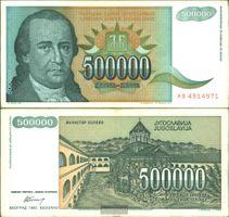 Jugoslawien Pick-Nr: 131 gebraucht (III) 1993 500.000 Dinara