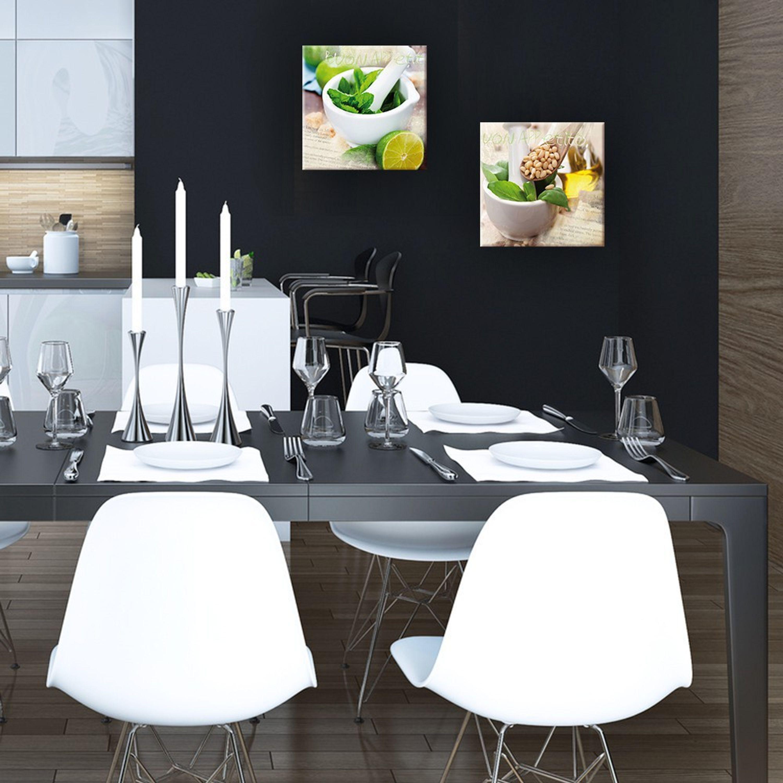 artissimo Glasbild 30x30cm Bild aus Glas Wandbild Küche Küchenbild Kräuter Holz