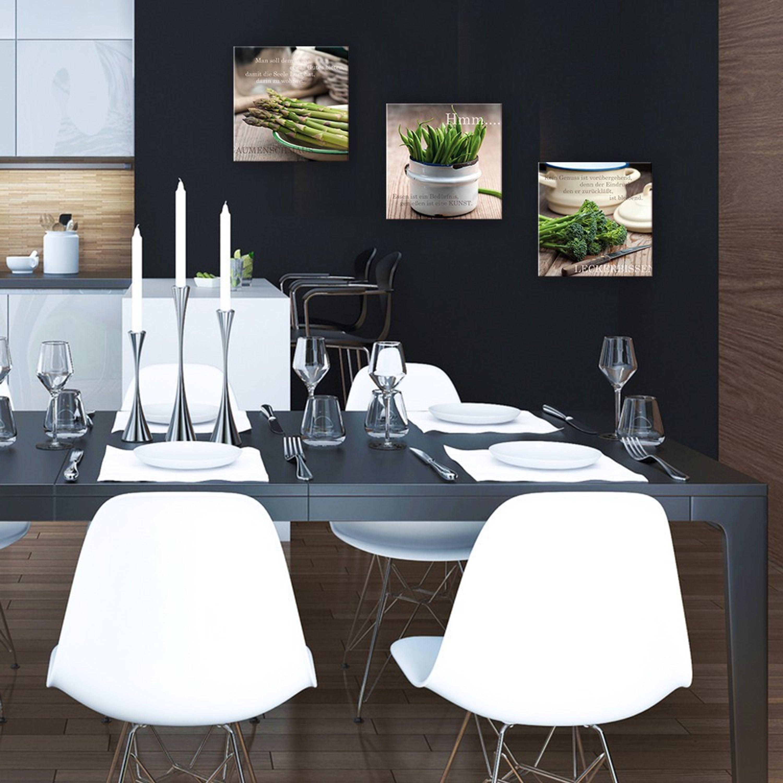 artissimo Glasbild 30x30cm Bild aus Glas Wandbild Küche Spruch Zitat Spargel neu