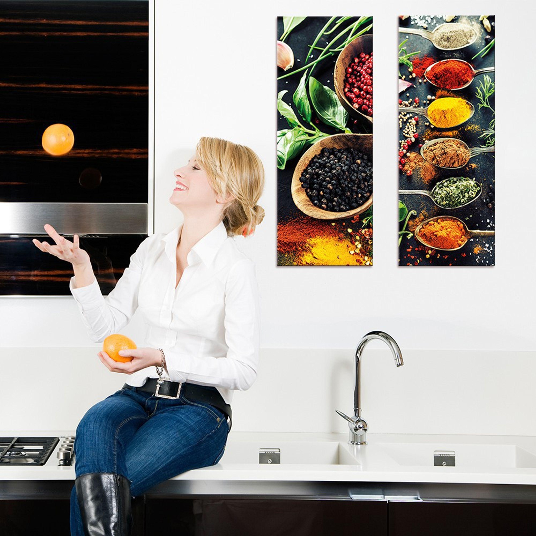Glasbild 18x18cm Küche Gewürze Löffel bunt