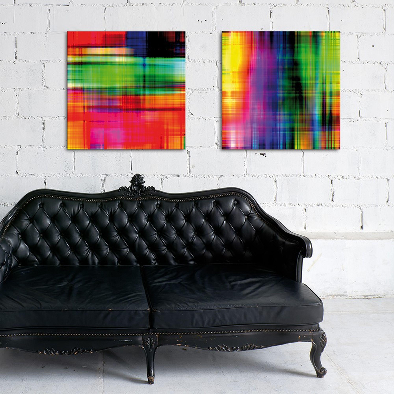 Glasbild 50x50cm Wohnzimmer abstrakt bunt Licht