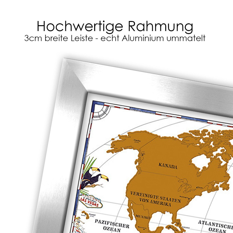 Rubbelweltkarte Gerahmt Weltkarte 96x66cm Artissimo Art Is