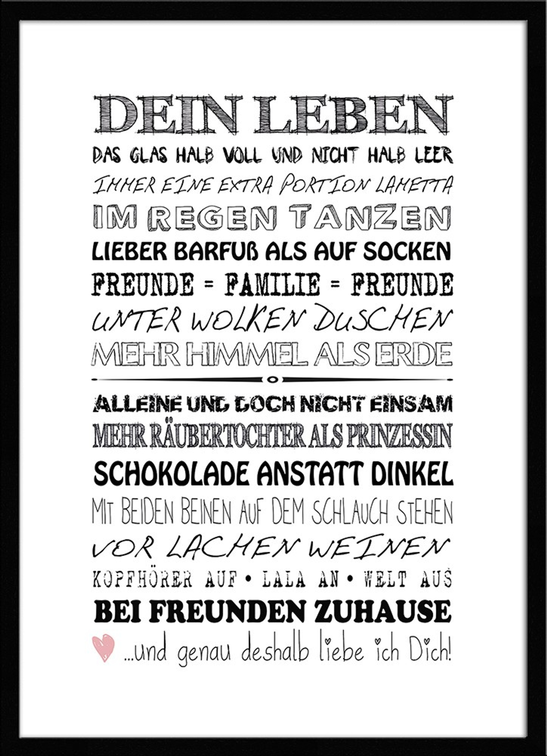 artissimo spruch bild gerahmt 51x71cm poster kunstdruck spr che wandbild rahmen ebay. Black Bedroom Furniture Sets. Home Design Ideas