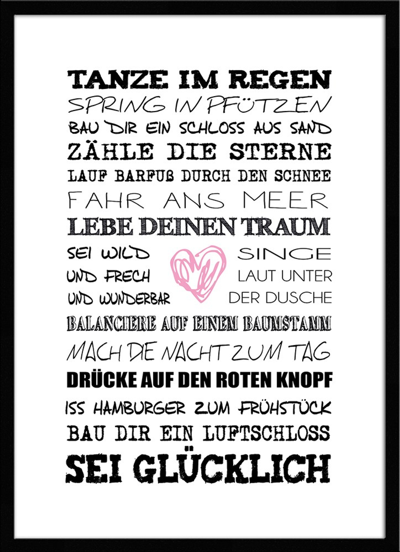 artissimo Spruch-Bild gerahmt 51x71cm Poster Kunstdruck Sprüche ...