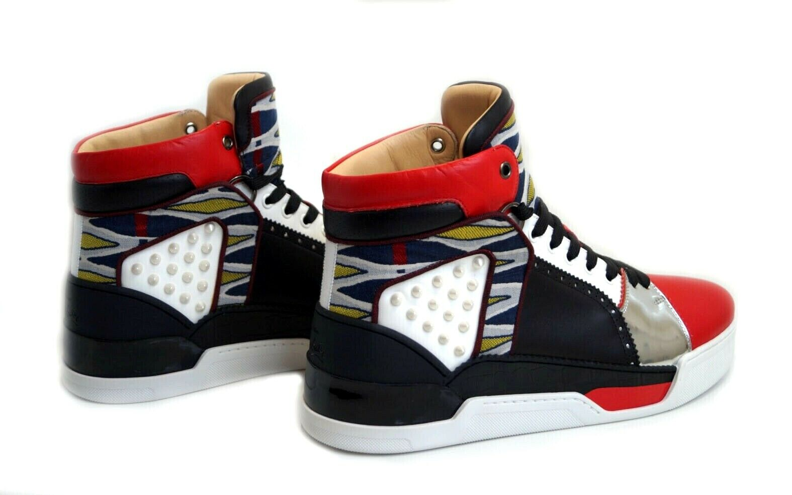 Details zu CHRISTIAN LOUBOUTIN Loubikick Flat Multi Layered High Top Sneakers