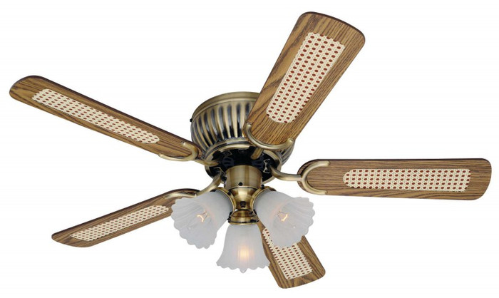 Slim Ceiling Fan Kisa Antique Brass 105cm