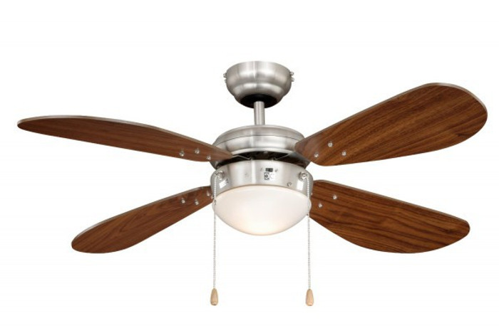 Ceiling Fan Classic Nickel / Walnut with Light