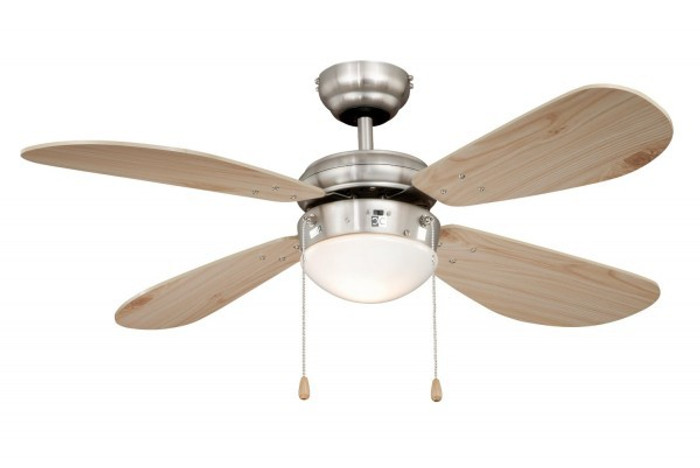 Ceiling Fan Classic Nickel / Pine with Light