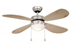 Ceiling Fan Classic Nickel / Pine with Light 001