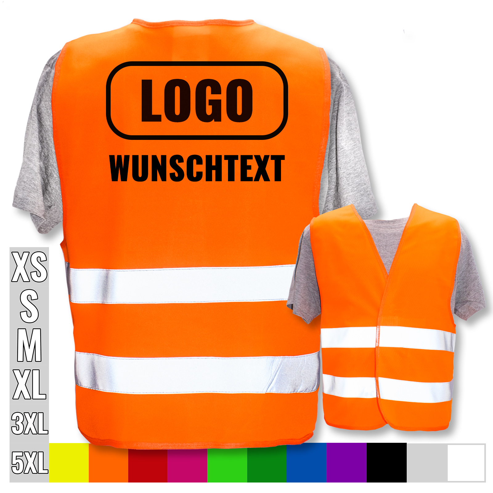 Pers/önliche Warnweste selbst gestalten mit eigenem Aufdruck * Bedruckt mit Name Text Bild Logo Firma 29 x 21 cm Farbe//Position:Orange//R/ücken Menge:1 Warnweste