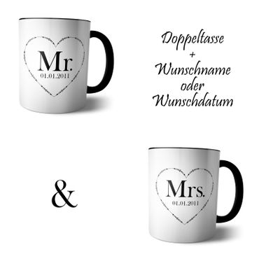 Doppel Tasse 'Mr and Mrs'  – Bild 4