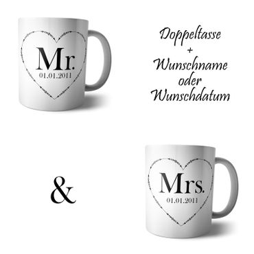 Doppel Tasse 'Mr and Mrs'  – Bild 6
