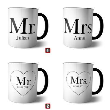 Doppel Tasse 'Mr and Mrs' + Namen oder Datum – Bild 1
