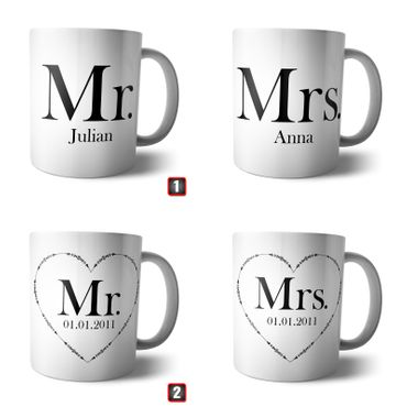 Doppel Tasse 'Mr and Mrs' + Namen oder Datum – Bild 2