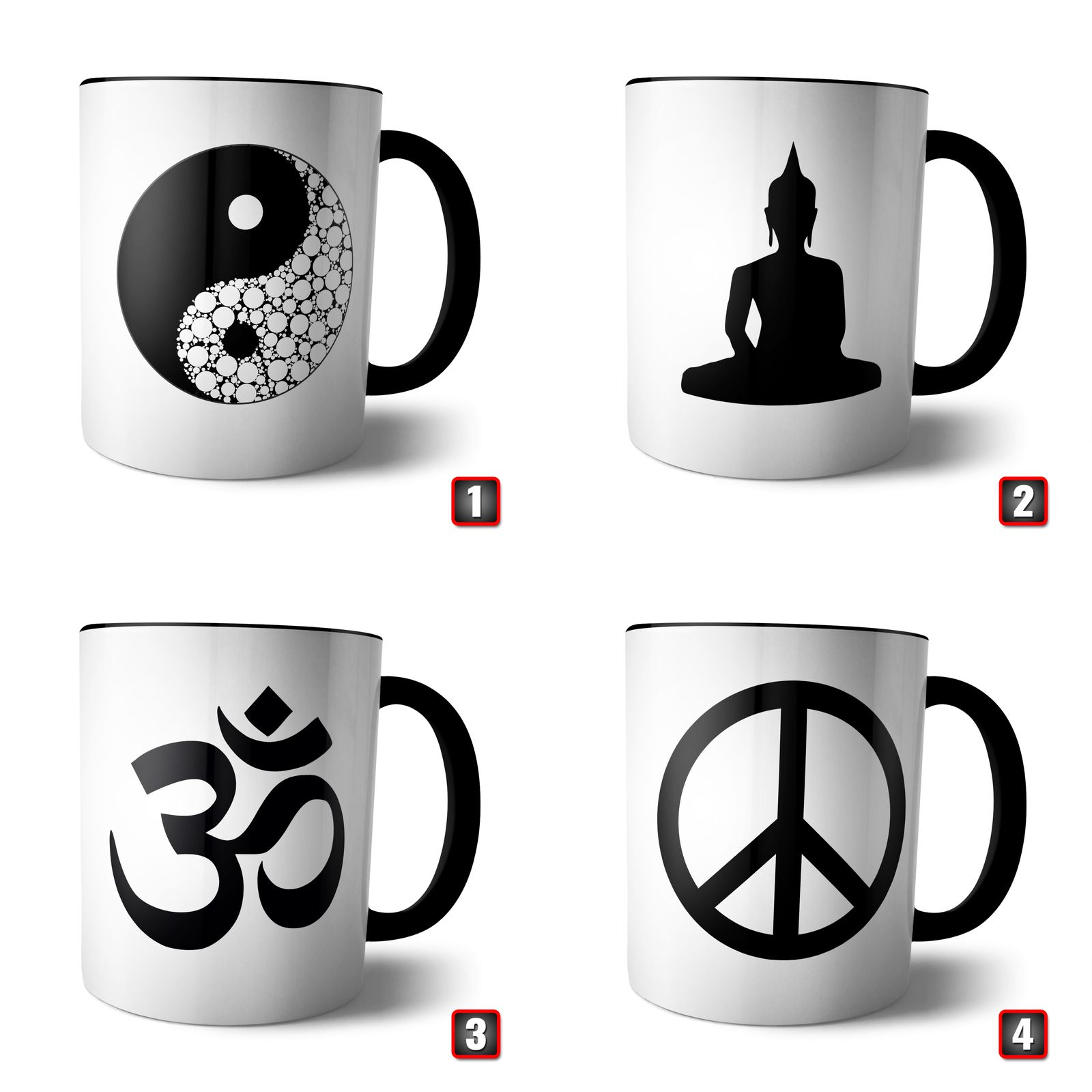 tasse yin yang buddha peace om indien spirituel geschenk lotus indisch parsley ebay. Black Bedroom Furniture Sets. Home Design Ideas