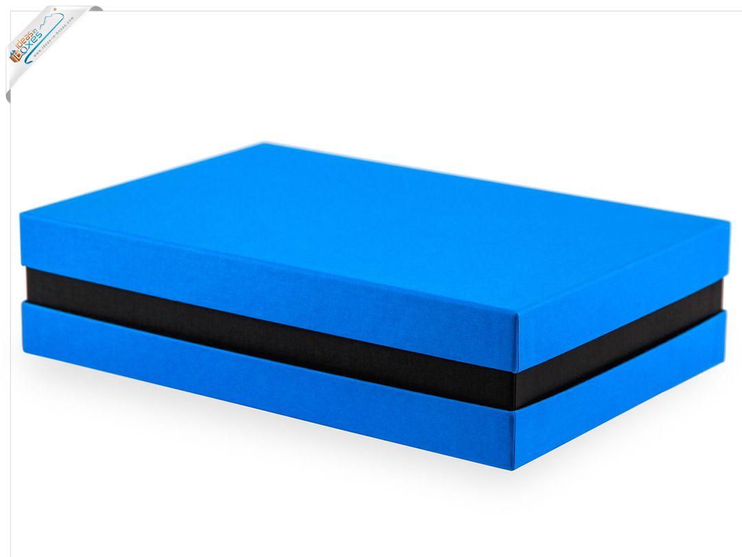 Premium-Geschenkbox - Geschenkverpackung (Türkis, Schwarz) 33x22x8 cm