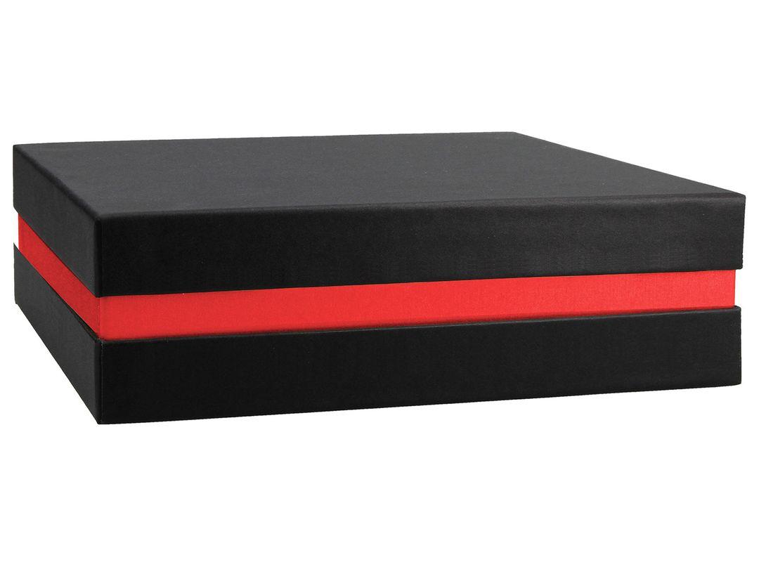 FSC® Premium+ Geschenkbox - Geschenkverpackung (Schwarz, rot) 21x21x6 cm