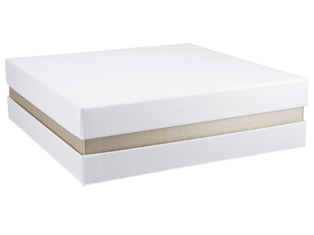 FSC® Premium+ Geschenkbox - Geschenkverpackung Made in Germany (Weiß, Gold metallic, Weiß) 21x21x6 cm