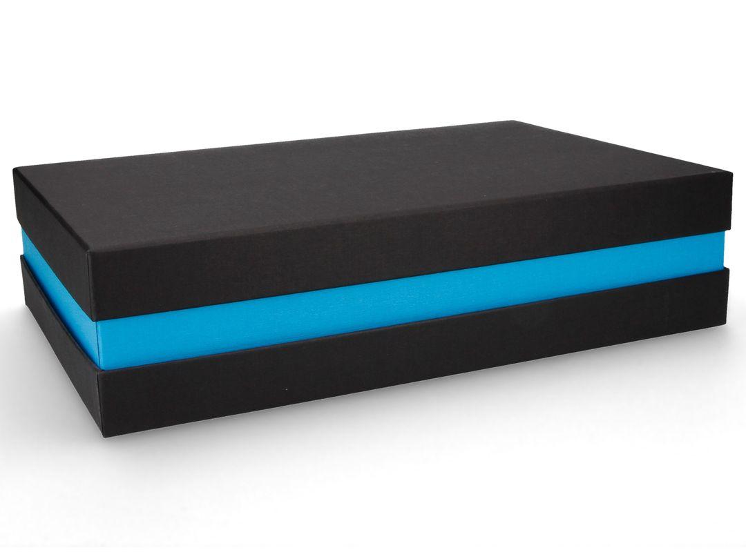 Premium-Geschenkbox - Geschenkverpackung Made in Germany (Schwarz, Türkis) 33x8x22 cm