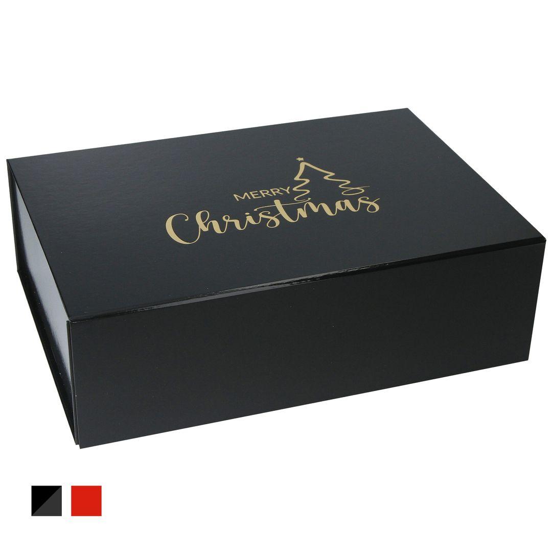 """Geschenkbox zu Weihnachten """"Merry Christmas"""" 33x22x10cm mit Heißfolienprägung (Gold)"""