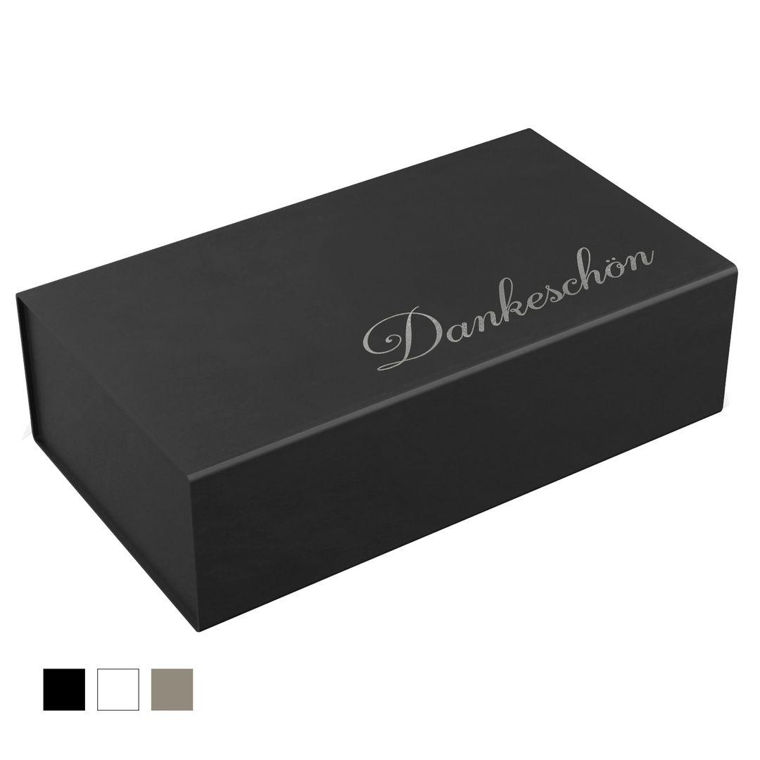 """Geschenkbox 33x22x10cm """"Dankeschön"""" mit Heißfolienprägung (Silber)"""
