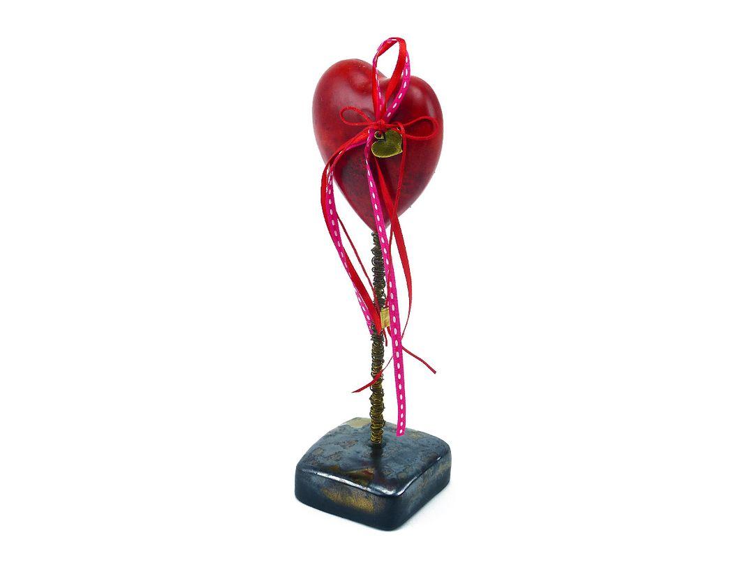 Vintage Deko Herz Liebesbeweis Aus Keramik Auf Standfuß Geschenk Zum Valentinstag
