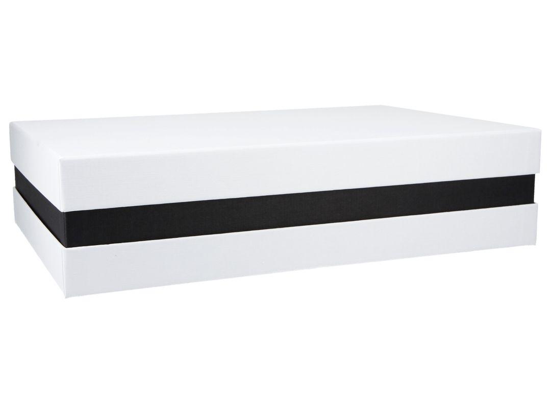 Premium-Geschenkbox - Geschenkverpackung (Weiß, Schwarz) 33x22x8 cm