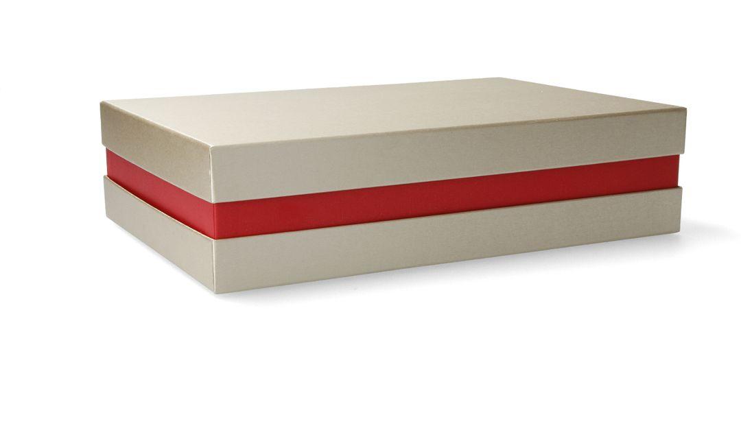 Premium-Geschenkbox - Geschenkverpackung (Gold, Rot) 33x22x8 cm