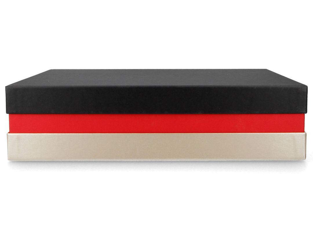 Premium-Geschenkbox FSC® - Geschenkverpackung Made in Germany (Schwarz, Rot, Gold) 33x22x8 cm