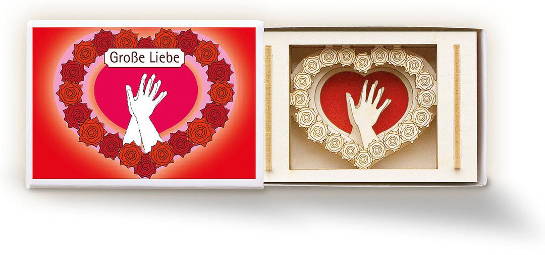 """Streichholzschachtel """"Große-Liebe"""" Mini 3D-Motiv - Kleines Mitbringsel"""