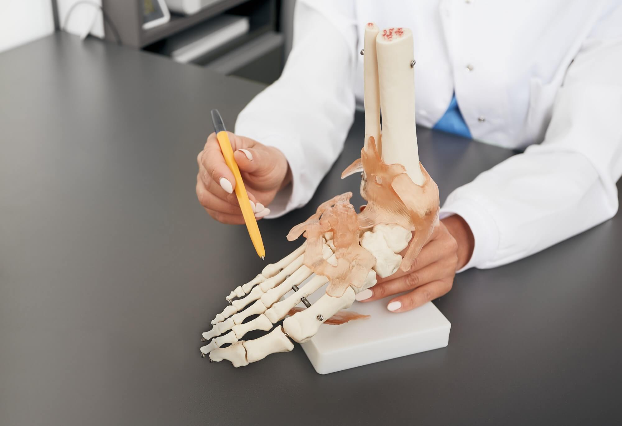 Ärztin zeigt die Anatomie an einem Skelettmodell eines Fußes