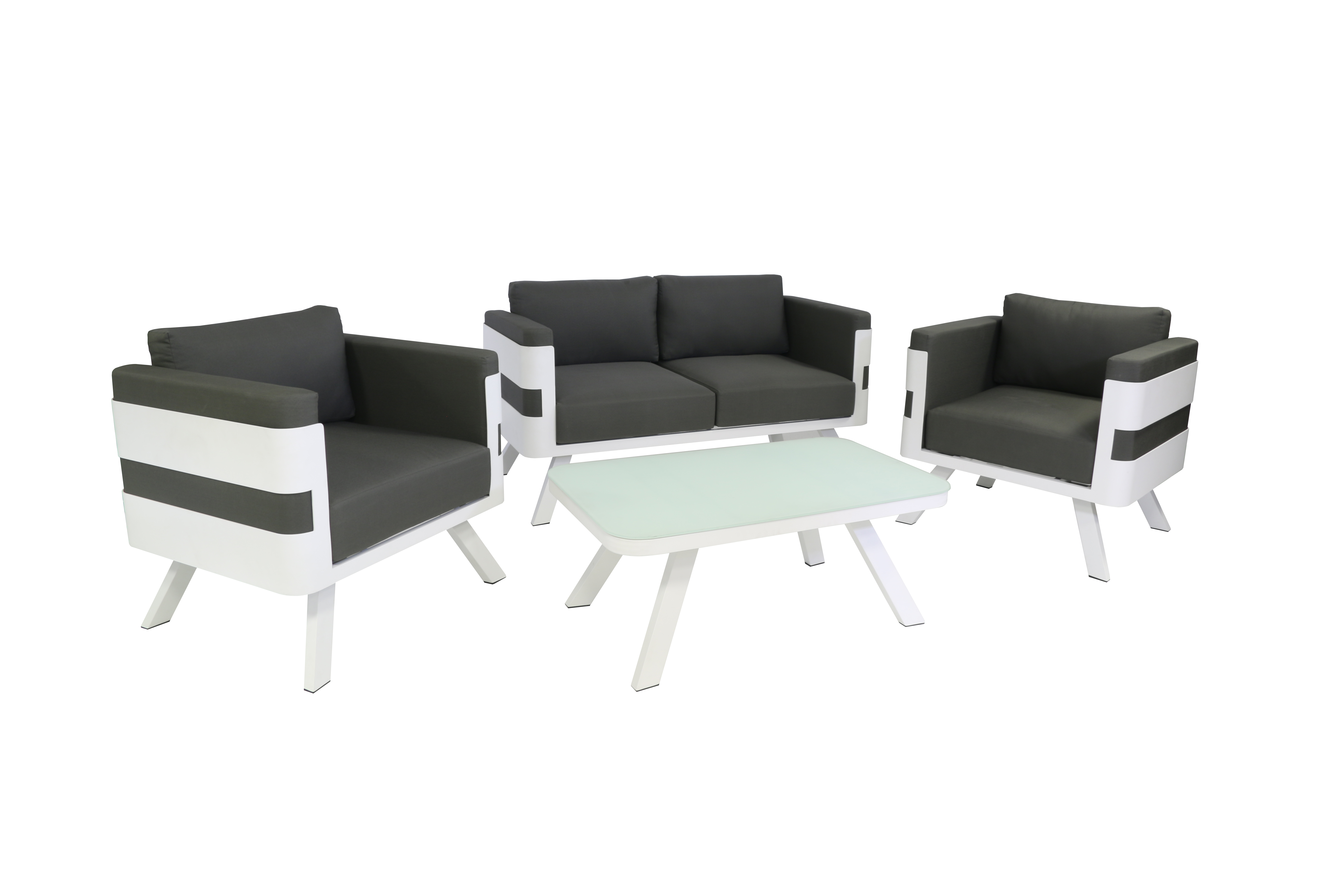 Modern lounge set wood color choice of fabric white with