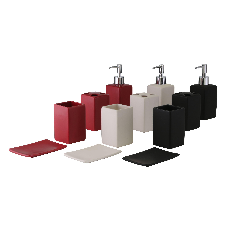 bad-set 4-teilig schwarz/weiß/rot bad badaccessoires seifenschalen, Badezimmer ideen