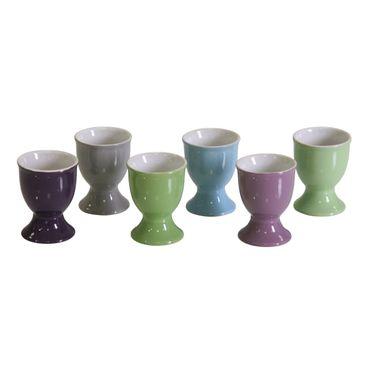 Eierbecher Keramik auf Fuß farb. sort. Eierbehälter Becher Eierständer Eier – Bild 1