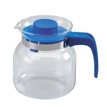 Glaskanne ca.1,2L, m. PP-Deckel+Griff Wasserkrug Glaskrug Krug Karaffe Saftkrug – Bild 1