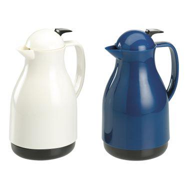 Iso-kanne 1L,Glaseins ,weiß und blau Isolierkanne Kaffeekanne Teekanne Kanne