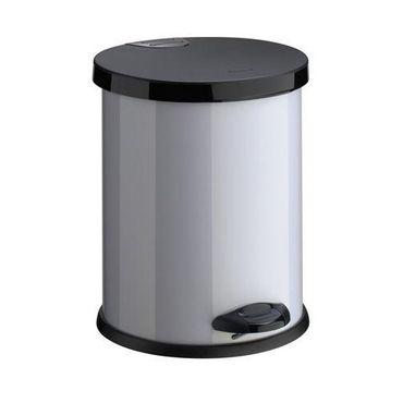 Treteimer 12 Liter silber m schwarzem Deckel