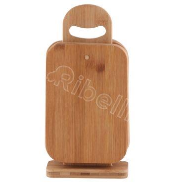 Brettchenständer Bambus 6 Stück Bambusbrett Holzbrett Küchenbrett Schneidbrett – Bild 1