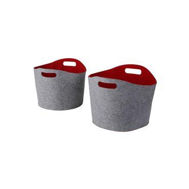Aufbewahrungskörbe Filz 2tlg. grau/rot