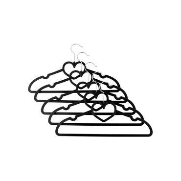 Kleiderbügel mit Herz, Samt, 5 Stück