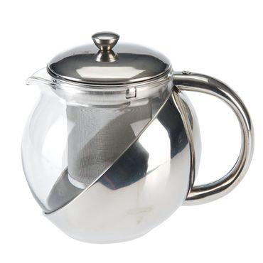 Teekanne Glas Edelstahl 650ml mit Teesieb Glaskanne Kaffeekanne Getränkekanne