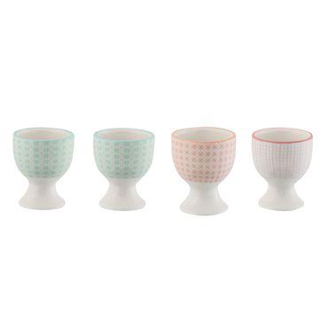Eierbecher Steingut Geo Design Eierbehälter Eierständer orange, pink, mint – Bild 1