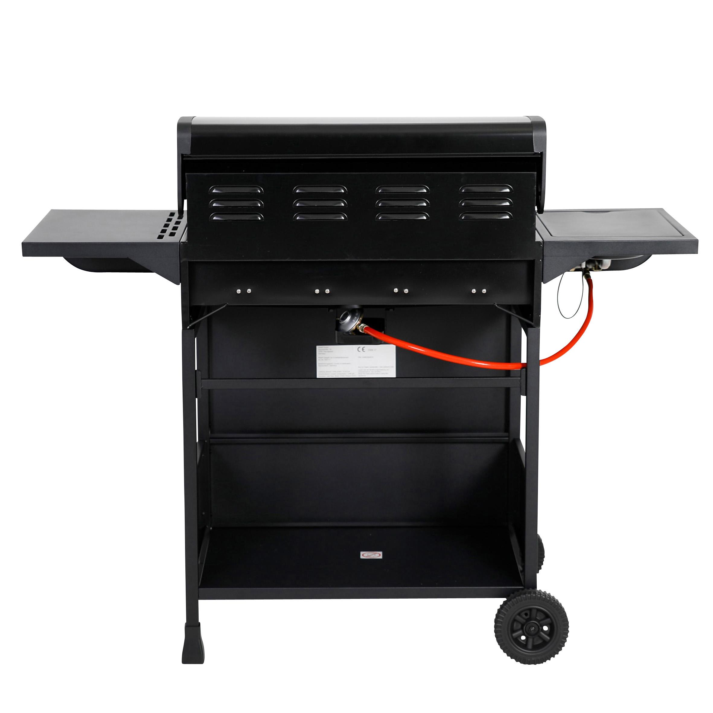 4 gasgrill gasbrenner grill mit seitenbrenner garten grill und bbq. Black Bedroom Furniture Sets. Home Design Ideas