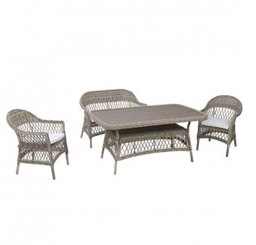 Rattan Lounge Set Sitzgruppe Loungemöbel Sofa Tisch Gartenmöbel 4 teilig – Bild 1