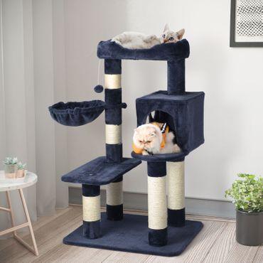 Katzenkletterbaum mit Spielhaus, Liegefläche und Hängematte verschiedene farben – Bild 12