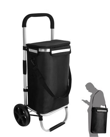 Einkaufstrolley Einkaufsroller Einkaufswagen klappbar Tragetasche mit Kühlfach – Bild 1
