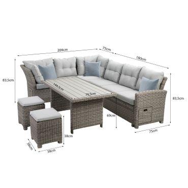 Lounge Set grau Sitzgruppe Sitzgarnitur Gartenmöbel Loungemöbel Gartenlounge  – Bild 2