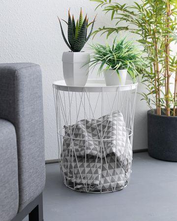 Ribelli Beistelltisch Draht Metall Korbtisch Aufbewarung Couch Sofa Tisch weiß – Bild 5