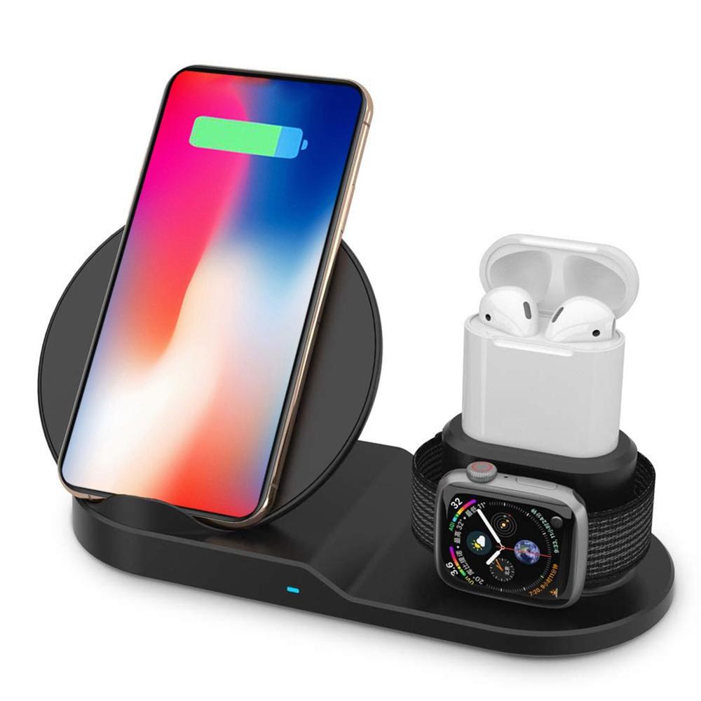 Details zu 3 in 1 Wireless Charger Ladestation Ladegerät für iPhone Apple Watch Air Pods