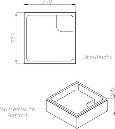 Wannenträger zur Acryl-Brausewanne Sono 80 x 80 x 15 cm – Bild 2